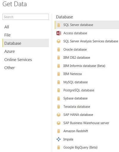 Power BI Desktop - Get Data - Databases - Power BI SQL Server'dan Veri Çekme(Get Data From Database)