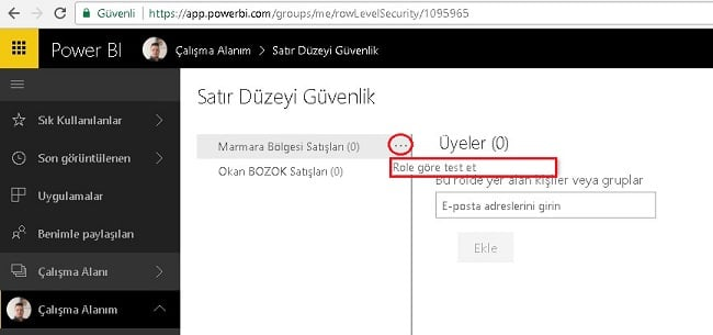 Power BI Roller İzinler Row Level Security-RLS