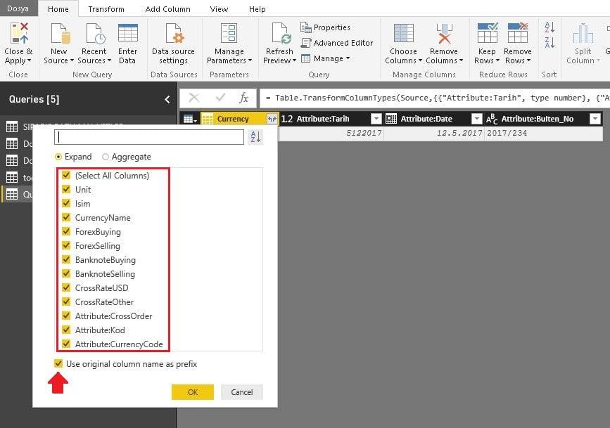 Alanların Seçilmesi ve Tablo İsminin Ön Ek Olarak Gelmesi -Power BI 'da XML İle Veri Alma