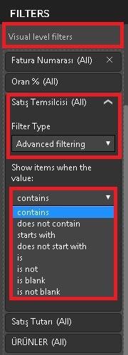 Power BI Desktop'ta Filtreler (Power BI Filters) - Advanced Filtering