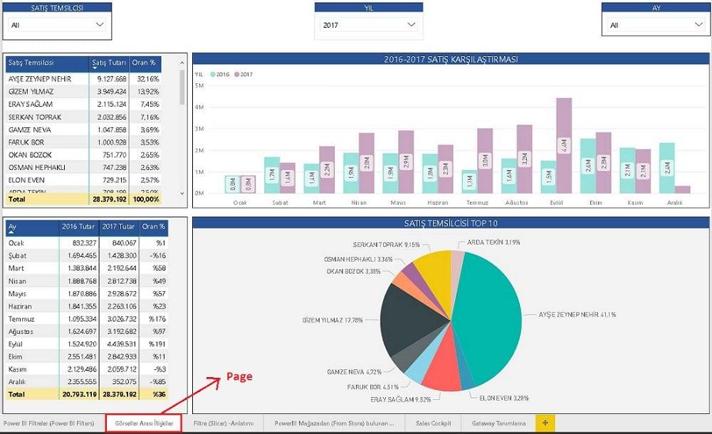 Power BI Desktop - Page Level Filters - Power BI Desktop'ta Filtreler (Power BI Filters)