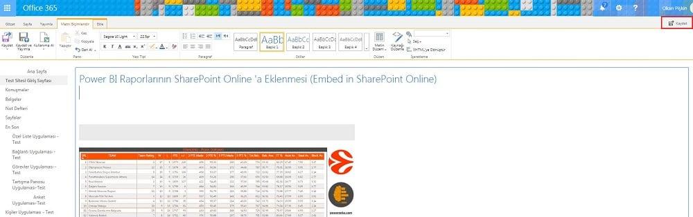 SharePoint Online Wiki Sayfası - Kaydet