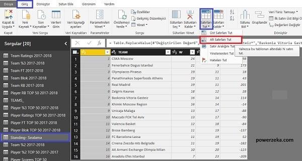 Query Editor - Home (Giriş) - Keep Bottom Rows - Alt Satırlardan İstenilen Satır Sayısı Kadarının Kalması Sağlanır.