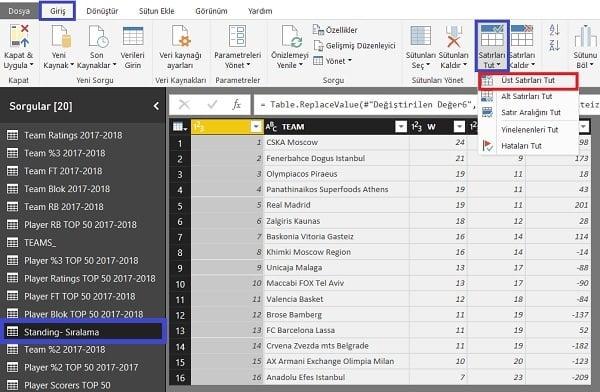 Query Editor - Home (Giriş) - Keep Top Rows - Üstten İstenilen Satır Sayısının Kalması Sağlanır.