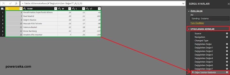 Query Editor - Home (Giriş) - Remove Alternate Rows (Diğer Satırları Kaldır)
