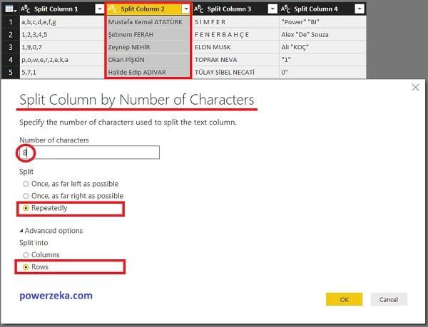 Advanced Options (Gelişmiş Seçenekler)- Seçili Sütundaki Tüm Değerlerin Belirlenen Karakter Sayısına Göre Satırlara Ayrılması