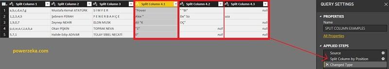 Split Column (Sütunu Böl) - By Number of Characters (Karakter Sayısına Göre)-Advanced Options (Gelişmiş Seçenekler)- Number of columns to split into (Bölünecek Sütun Sayı