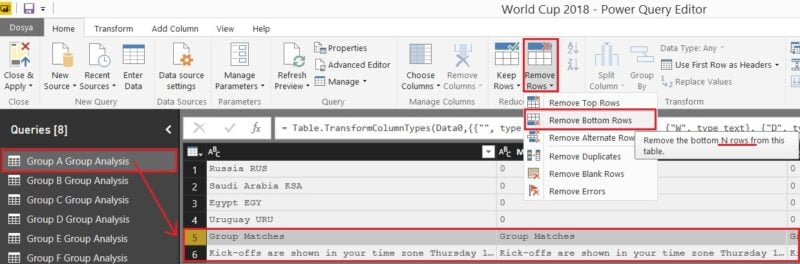 Power BI - Query Editor (Edit Queries) - Remove Rows