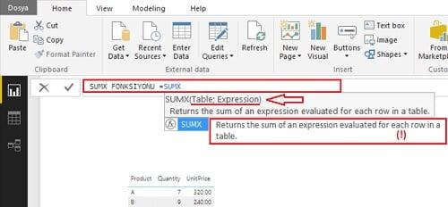 SUMX ( ) Fonksiyonu - DAX Toplayıcı (Aggregate) Fonksiyonları