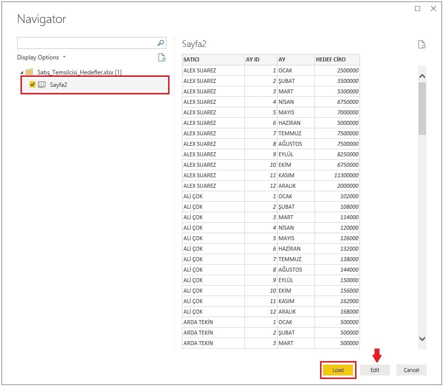 Power BI Excel Dosyasından Veri Alma İşlemi-Load-Edit-Ekranı