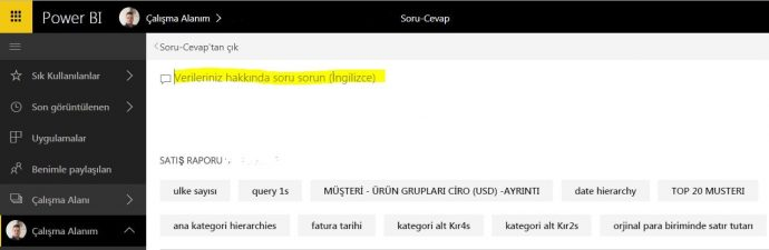 Power BI Web Question & Answer Screen -Power BI Web Soru Cevap Ekranı - Power BI Nedir ?