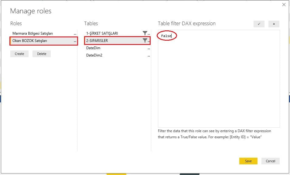 Table Filter DAX Expression-False -Power BI Roller İzinler Row Level Security-RLS