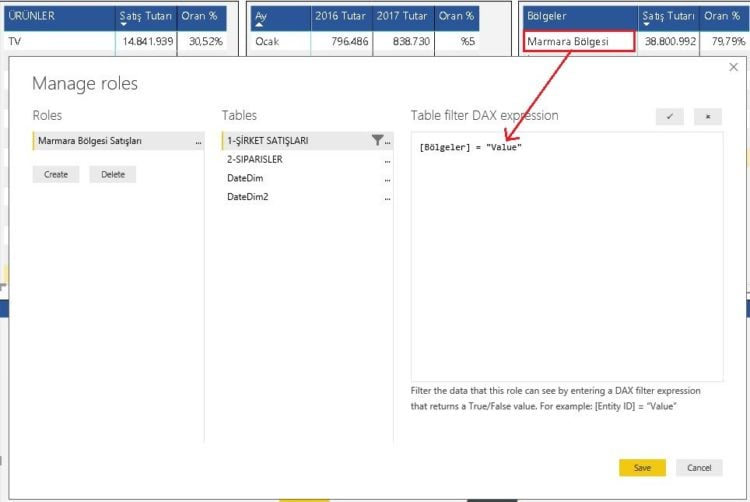 Power BI Masaüstü Table Filter Data Expression - Power BI Roller İzinler Row Level Security-RLS