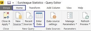 Power BI - Edit Queries - Enter Data