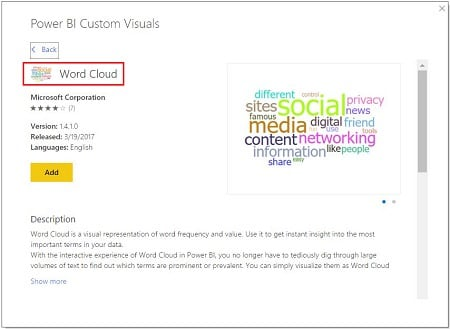 Power BI Mağaza (From Store) - World Cloud