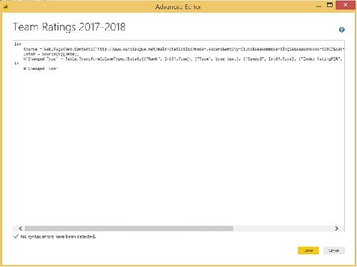 Power BI - Edit Queries - Advanced Editor