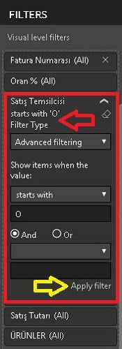 Power BI Advanced Filtering Starts With 'O' - Power BI Desktop'ta Filtreler (Power BI Filters)