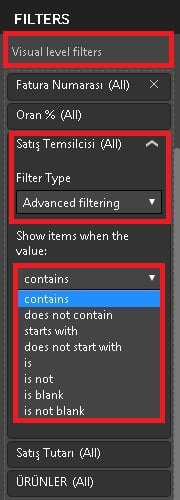 Power BI Desktop'ta Filtreler (Power BI Filters) - Advanced Filtering