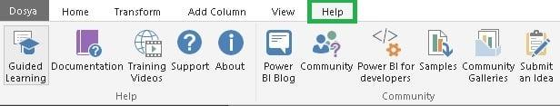 Power BI - Sorgu Düzenleyicisi (Query Editor) - Yardım (Help) Sekmesi