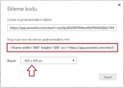 Power BI Web - Dosya - Web' de Yayımla - HTML Kod Üretme