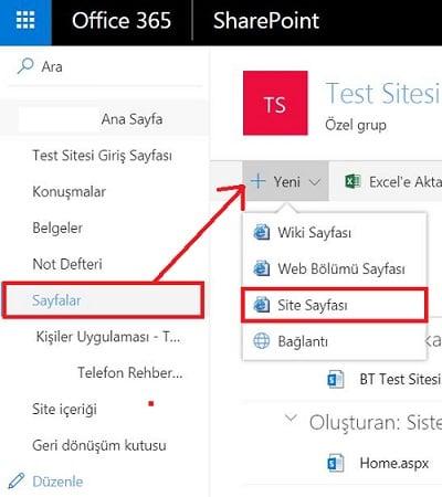 SharePoint Online - Site Sayfası Ekleme