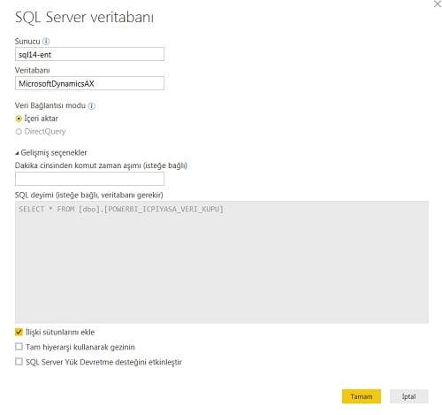 Sorgu Paneli (Query Ribbon) - Home (Giriş) - SQL Source Settings (SQL Server Veri Kaynağı Ayarları)