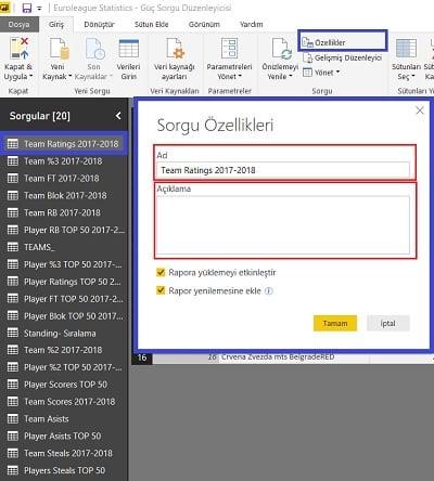 Query Editor - Properties (Özellikler)