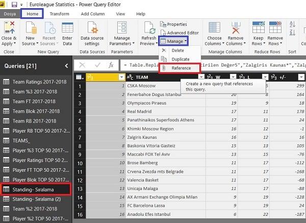 Query Editor - Manage (Yönet) - Reference - Kaynak sorguyla ilişkili yeni bir sorgu oluşur.