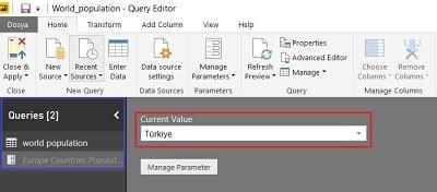 Oluşturulan parametreler Query Editor-Sorgu Bölümünde yer alır.