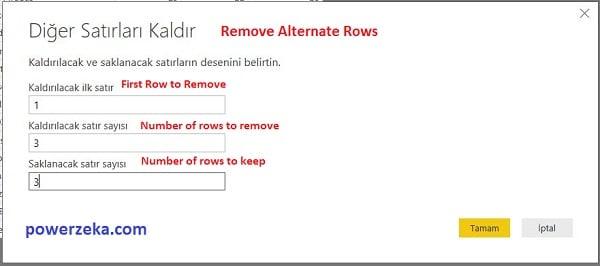 Query Editor - Home (Giriş) - Remove Alternate Rows (Diğer Satırları Kaldır -