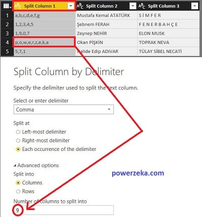 Number of columns to splint into bölümüne default olarak gelen rakam seçili sütundaki bölünebilecek maksimum sütun miktarıdır.