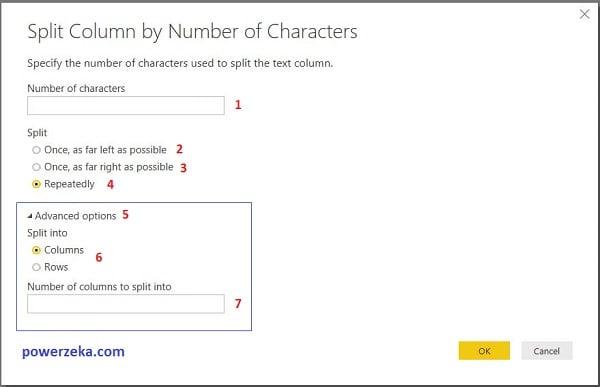 Query Editor - Home (Giriş) - Split Column (Sütunları Böl) - By Number Of Characters (Karakter Sayısına Göre)