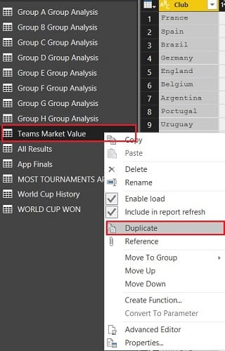 Dublicate - Teams Market Value