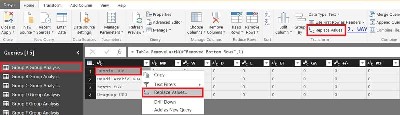 Power BI Query Editor (Edit Queries) - Replace Values