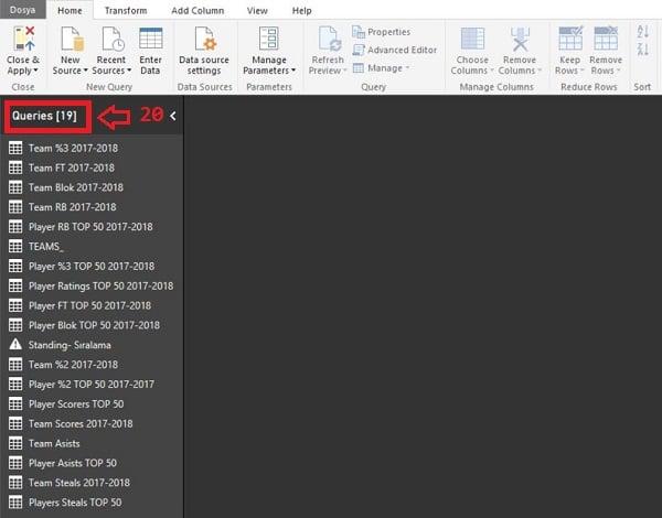 Query Editor - Manage (Yönet) - Delete (Sil) - Silinen Sorgu Queries (Sorgular) ekranından silinecektir.