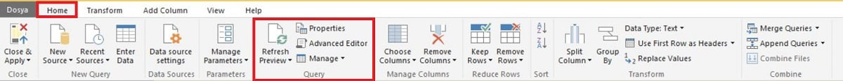 Power BI - Edit Queries (Power Query Editor) - Query Menu