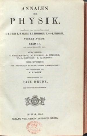 Albert Einstein'ın Özel İzafiyet Teorisinin Yayımlandığı Physik 'in 17. Sayısının Kapağı - 1905